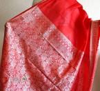 Красное сари из высококачественного шелка, шелковое сари
